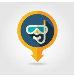 Diving mask pin map flat icon summer vacation vector
