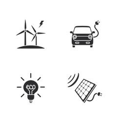 four flat eco icons vector image vector image