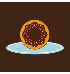 Hand holding a tray of donuts vector