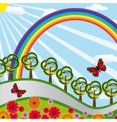 rainbow over the highway vector image vector image