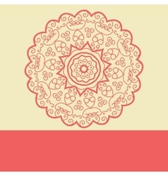 Red doodle symmetry mandala design vector