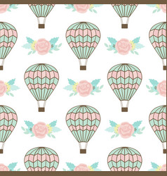 Seamless pattern with air balloon and bouquet vector