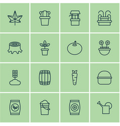 set of 16 garden icons includes radish water vector image