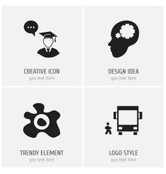 Set of 4 editable teach icons includes symbols vector
