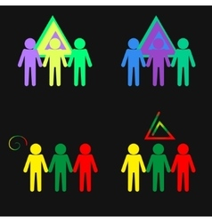 Set of symbol of young peoples joining hands vector image