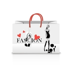 Shopping Bag with a print - ink sketch vector image vector image