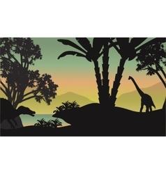 Silhouette of brachiosaurus in park vector image