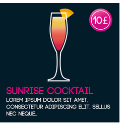 Sunrise cocktail card template with price and flat vector