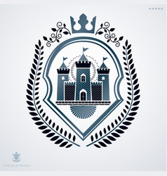 vintage decorative heraldic emblem composed with vector image vector image