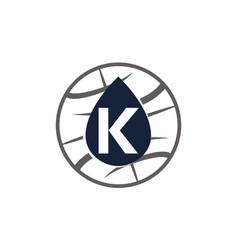Water oil world letter k vector