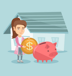 Woman saving money in piggy bank for buying house vector