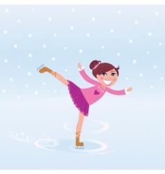 young girl training ice figure vector image