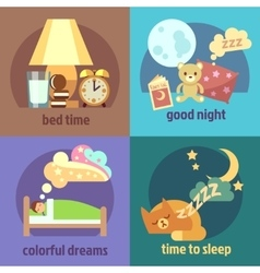 Sleep time concept backgrounds set vector