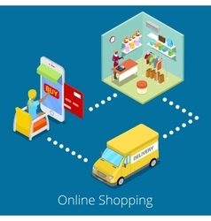 Isometric online shopping woman buying clothes vector
