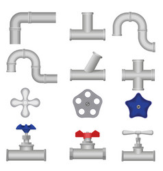 Construction plumbing pieces set of pipes vector