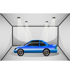 A blue tinted car inside the garage vector