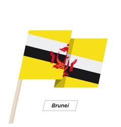 Brunei ribbon waving flag isolated on white vector