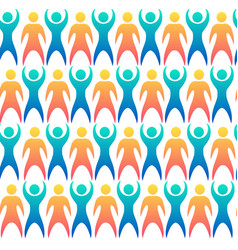 seamless pattern with multicolored people vector image