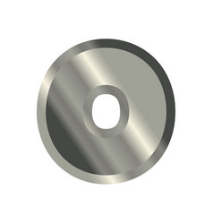 letter o steel font metal alphabet sign iron abc vector image
