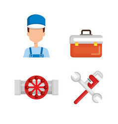 Plumber with tool set vector