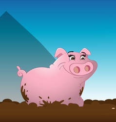 Pig wallowing mud vector