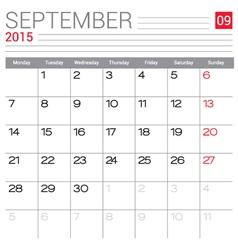 2015 September calendar page vector image vector image