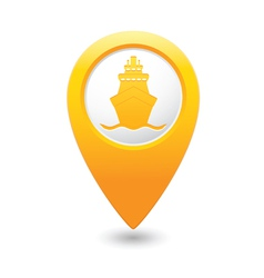 Ship icon yellow map pointer vector