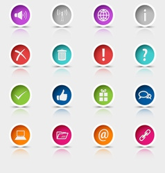 Colored set round web buttons element vector