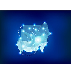 Sudan country map polygonal with spot lights place vector