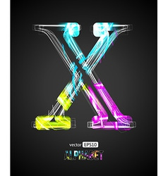 Design Light Effect Alphabet Letter X vector image