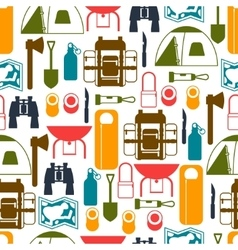 Tourist seamless pattern with camping equipment in vector