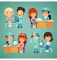 Women having medical consultation in doctors vector