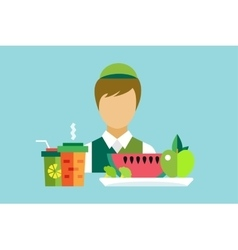 Vegetarian city food restaurant object icons set vector