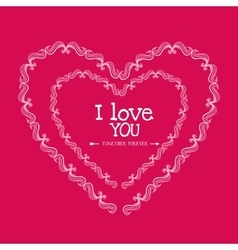 Romantic colorful card design with pink hearts vector