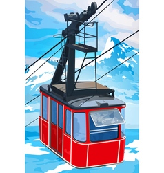 Red cableway in mountains vector