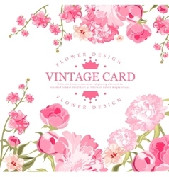 Vintage flower card vector