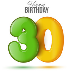 Birthday greeting card with numbers 30 thirty vector