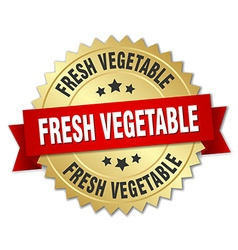 Fresh vegetable 3d gold badge with red ribbon vector