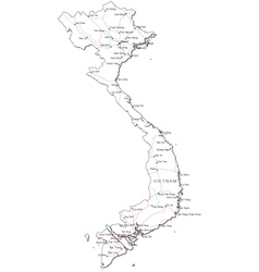 Vietnam black white map vector