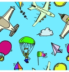 Aviation seamless pattern vector