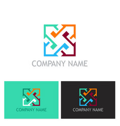 arrow colored square company logo vector image vector image