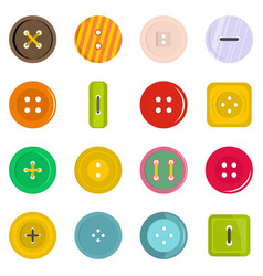 Clothes button icons set in flat style vector