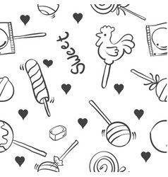 collection candy on white background doodles vector image