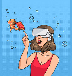 Concept of virtual reality girl in 3d-glasses and vector