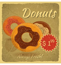 Donuts on grunge background vector image