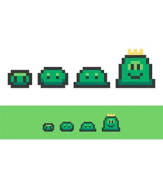 Evolution of pixel slimes from small to king slime vector image