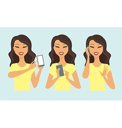 girl using smartphone vector image