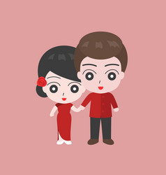 Groom holding hand with bridge in chinese costume vector