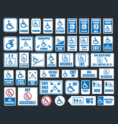 Handicap icons parking and toilet signs disabled vector