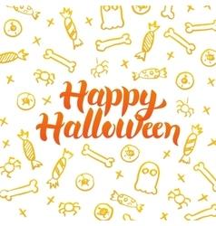 Happy halloween gold postcard vector